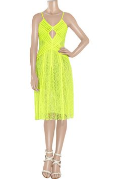 Christopher Kane pleated neon lace dress
