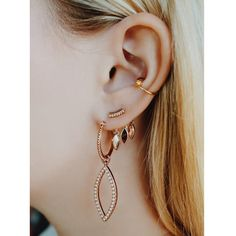 - Delicate Studs with Back Plate of Charms Dangling Behind the Ear - Stud Sits in Front - Charms in Back are 9 mm Long - Plated Rose Gold - Made from Brass - Hypoallergenic, won't irritate ears