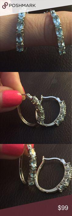 New Sterling Silver And Aquamarine earrings New Sterling Silver And Aquamarine earrings Jewelry Earrings