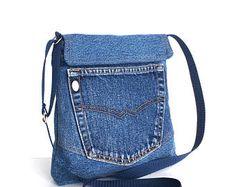Bandolera reciclada bolso lateral del pequeño jean azul