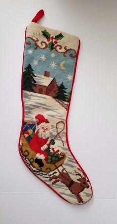 Needlepoint Christmas Stocking SANTA Sleigh snow house Handmade #unbranded