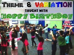 Using the Happy Birthday song to teach Theme and Variation. An easy process to do any time that makes teaching Theme and Variation super easy! Teaching Themes, Teaching Music, Music Lesson Plans, Music Lessons, Teach Dance, Music Sing, Music Activities, Music For Kids, Elementary Music
