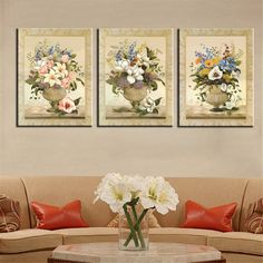 Frameless Canvas Print Oil Painting Art Home Decoration Modular Still Life Colorful Flower Picture for Living Room Wall 3 Panel Panel Wall Art, Canvas Wall Art, Wall Art Prints, Canvas Prints, Wall Art Pictures, Canvas Pictures, Plant Painting, Painting Art, Nursery Paintings