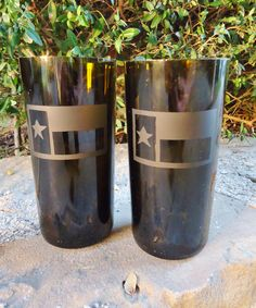 Texas Lone Star Flag on Recycled Wine Bottle Glasses Set of 2. $32.00, via Etsy.