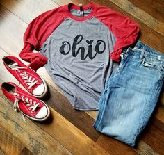 Absolutely. Love. Ohio. And I absolutely love 3/4 sleeve Baseball Tees This shirt is so soft and comfortable. Perfect for any season. It is a unisex sized shirt so it fits nice and loose, yet is still flattering. **Since these are a unisex fitting shirt, they tend to run big for the ladies. Most of my ladies size down with this particular style. Please message me if you have a question about sizing. Check my listing for matching youth sizes!! Please message us with any additional ques...