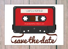Save the Date  Cassette by theprintlove on Etsy, $25.00