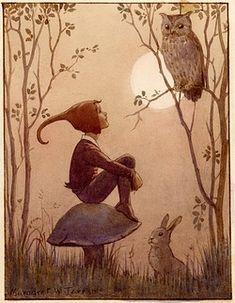 'The Brownie' - elf sitting on toadstool looking at owl