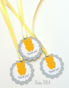 12 Grey with Yellow-Orange Owl Scallop Thank you by StudioIdea