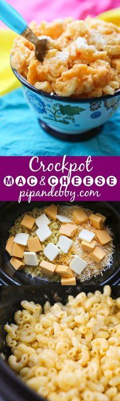 Crockpot Mac and Cheese | Only FIVE ingredients, one slow cooker, a couple hours and you have the best mac and cheese ever! My boys love this recipe.