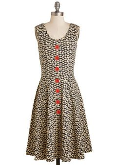 Wildwood if You Could Dress | Mod Retro Vintage Dresses | ModCloth.com  95% cotton 5% spandex, tan on navy with red buttons