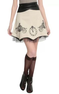 NEW NWT Disney CINDERELLA Hot Topic Clock Carriage Skirt Limited Edition L #Disney #ALine