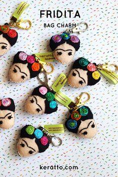 Colorful Frida #handmade #bagcharm inspired in #FridaKahlo by #keratto
