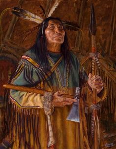 Articles of the Cheyenne | J. Ayers 2016 |  Cheyenne warrior with his spear and pipe-axe.