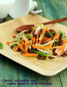 A light salad loaded with vitamin A from carrot and mint together with protein-rich rajma too, the Carrot, Cucumber, Rajma Salad in Mint Dressing is a treat to your taste buds and eyes, in more ways than one. Carrot Salad Recipes, Diet Recipes, Cooking Recipes, Healthy Recipes, Healthy Soups, Garlic Recipes, Vegetarian Recipes, Vitamin A, Vegetarian