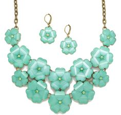 Joan Rivers Shimmering Floral Necklace & Earrings Set Joan Rivers Jewelry, Vintage Homes, Floral Necklace, Earring Set, Jewelry Sets, Resin, Drop Earrings, Amp, Stuff To Buy