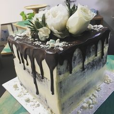 Square chocolate drip cake ...