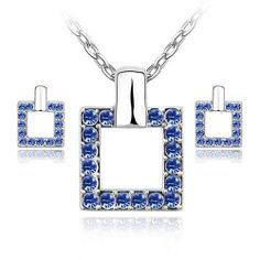 "Blue Chip Unlimited - Elegant Square Crystal Pendant in Royal Blue with 18k White Rolled Gold Plate 18"" Chain and Matching Earrings Fashion Jewelry Pendant Necklace Blue Chip Unlimited. $39.95. Please Note: For Pierced Ears Only. Royal Blue Square Crystal Pendant Necklace & Earrings Set. Brand New Item!. Perfect gift for every occasion!. Matching Necklace & Earring Set"
