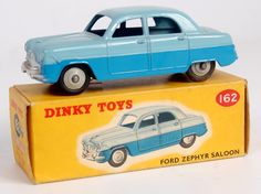 Lot 2050 - Dinky Toys, 162 Ford Zephyr saloon, two-tone blue body with grey hubs, silver detailed grille, in