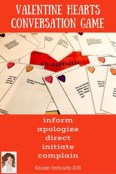 In this game, students will be asked to provide information, give directions, make apologies, initiate conversations, and complain appropriately.Students work their way around the board, choosing what to say for each card they draw (there are 66 cards), and filling up their skill score card.$