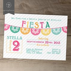 Fiesta Birthday Invitation / invites / Mexican Party Invite / fun colorful banner / No time for a siesta! // greylein