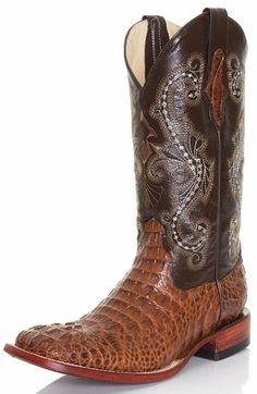 "Ferrini Mens 12"" Caiman Print Square Toe Croc Cowboy Boots - Brown"