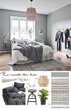 Re-create the look of this beautiful green-gray Scandinavian bedroom by Intro Home Styling & Interio Grey Green Bedrooms, Light Gray Bedroom, Bedroom Green, Bedroom Colors, Bedroom Ideas, Bedroom Rugs, Gray Bedroom Decor, Master Bedroom, Bedroom Designs