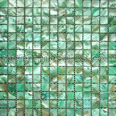 Sea green iridescent tiles