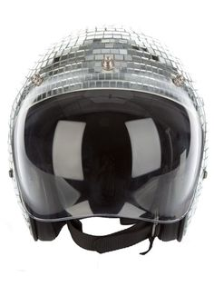 Mirrored silver-tone helmet from ILIL featuring, a transparent visor at the front section, a silver-tone buckle and black chin strap fastening, a padded interior and a mosaic disco ball design.