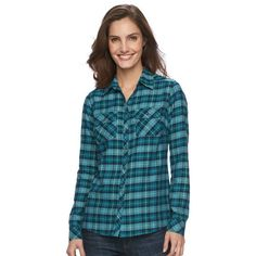 Women's Croft & Barrow® Plaid Flannel Shirt ($25) ❤ liked on Polyvore featuring tops, blue shirt, shirt tops, long sleeve plaid shirt, long-sleeve shirt and blue flannel shirts