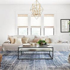 Magnolia Home By Joanna Gaines Kennedy 7'10 Round Area Rug In Denim - The Magnolia Home By Joanna Gaines Kennedy Rug will bring a new layer of ornate beauty to any living space. This rug is crafted of polyester for exceptional softness and durability, and it features a distressed vintage-inspired pattern. #LeatherLivingRoomSet Living Room Table Sets, Buy Living Room Furniture, Simple Living Room Decor, Living Room Area Rugs, Living Room Carpet, Living Room Modern, Living Room Designs, Small Living, Furniture Sets
