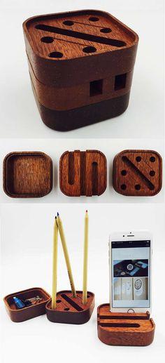 Wooden Smart Phone Stand Desktop Organizer Set, 3 Piece