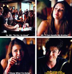 — Nina Dobrev as Elena Gilbert and Ian Somerhalder as Damon Salvatore in The Vampire Diaries