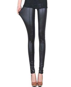 Black Imitation Leather Splicing Leggings