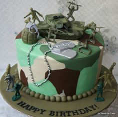 He Leaves For Basic On His Birthday Army Birthday Cakes Camo Birthday Cakes, Camo Cakes, Army Birthday Parties, Army's Birthday, Happy Birthday, Army Cake, Military Cake, Military Party, Army Party