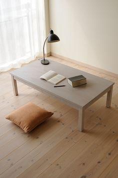 ホワイト拭き取りナラ引出付ローテーブルtypeS / カグオカ