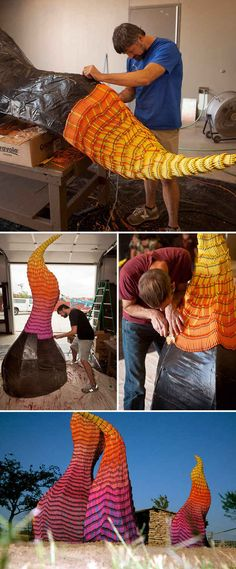 Herb Williams' Crayon Wildfire Sculptures