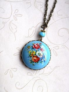 Vintage flower necklace, blue floral pendant, turquoise blue on Etsy, $26.00