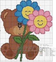 Bear with Flowers Cute Cross Stitch, Cross Stitch Charts, Cross Stitch Designs, Cross Stitch Embroidery, Cross Stitch Patterns, Beading Patterns, Embroidery Patterns, Perler Bead Emoji, Pixel Crochet
