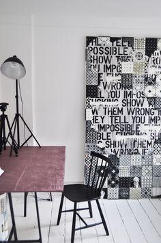 Collage, canvas tiles.