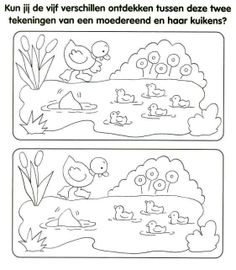 * Kun jij de 5 verschillen ontdekken? Free Kindergarten Worksheets, Free Printable Worksheets, Worksheets For Kids, Preschool Education, Preschool Activities, Coloring For Kids, Coloring Pages, Hidden Pictures, Activity Sheets
