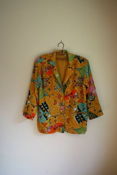 vintage 80s // 90s colorful abstract slouchy blazer by acupfullofsunshine, $32.00