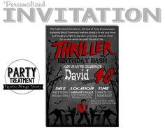 Michael Jackson Thriller Adult Halloween Birthday Invitation Design by Party Treatment
