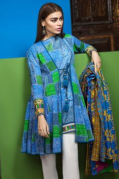 Salwar Kameez & salwar suit by Pakistani designers. Stitched original designer dresses from Pakistan. Stylish Dress Designs, Stylish Dresses For Girls, Designs For Dresses, Dress Neck Designs, Simple Dresses, Casual Dresses, Stylish Dress Book, Funky Dresses, Sleeve Designs