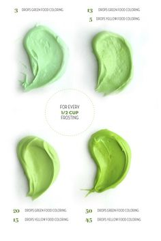 Get a variety of green colored frosting for your St. Patrick's Day dessert with the help of this green frosting color chart.
