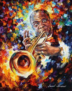 Louis Armstrong - PALETTE KNIFE Oil Painting On Canvas By Leonid Afremov https://afremov.com/amrstrong-PALETTE-KNIFE-Oil-Painting-On-Canvas-By-Leonid-Afremov-Size-24x30.html