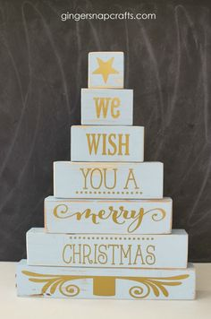 Diy wood block christmas tree by gingersnaps crafts for the creative girls soiree on todayscreativelife. How To Make Christmas Tree, Christmas Wood Crafts, Wooden Christmas Trees, Rustic Christmas, Simple Christmas, Christmas Crafts, Christmas Decorations, Christmas Ideas, Christmas Signs