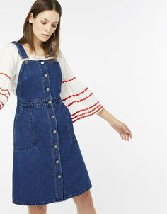 d191c7b3a33 Downtime denim takes a retro-inspired turn with our Peggy pinafore dress  from the Blue