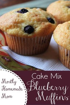 Mostly Homemade Mom - Crazy Cooking Challenge: Cake Mix Blueberry Muffins  www.mostlyhomemademom.com