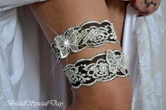 Vintage Black And  Silver Wedding Garter by BridalSpecialDay, €25.00