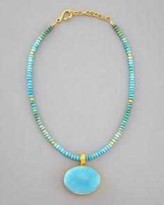 beaded turquoise pendant necklace // Dina Mackney #turquoise #necklace